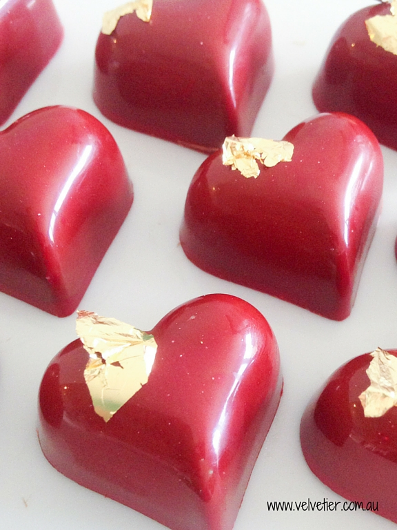 Red heart with gold leaf custom chocolate Brisbane Velvetier