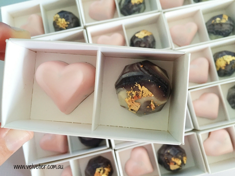 2 chocolate box with marble and pink Velvetier Brisbane Bomboniere wedding favour party favour
