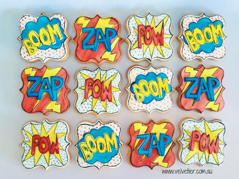 Superhero cookies by Velvetier Brisbane cookies