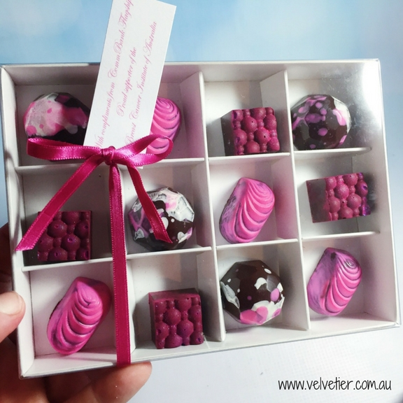 Shades of Pink chocolates for breast cancer event by Velvetier Brisbane Chocolatier
