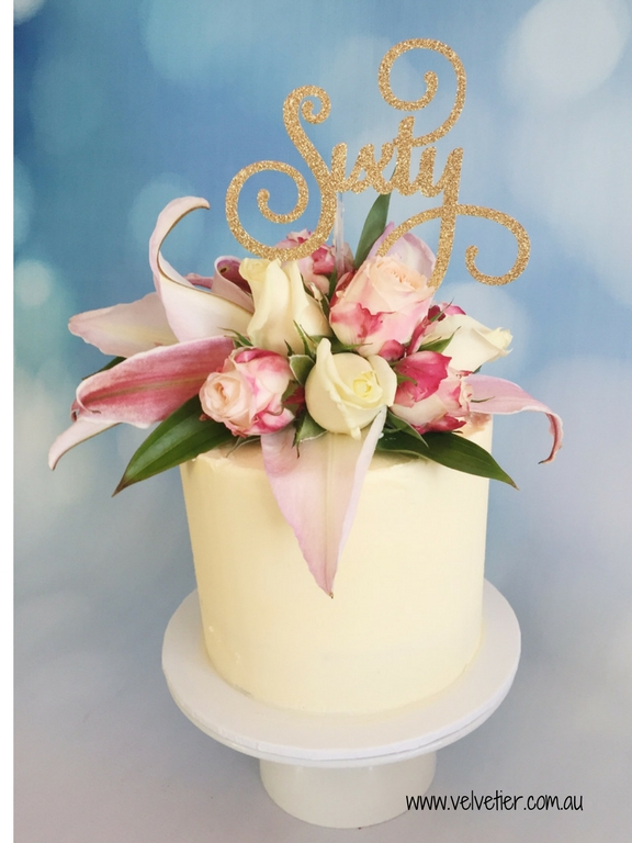 Buttercream Cake With Fresh Flowers And Gold Topper By Velvetier Brisbane Cake