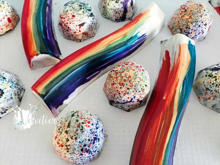 love is love rainbow splattered gem bonbons and rainbow bars by velvetier brisbane chocolatier