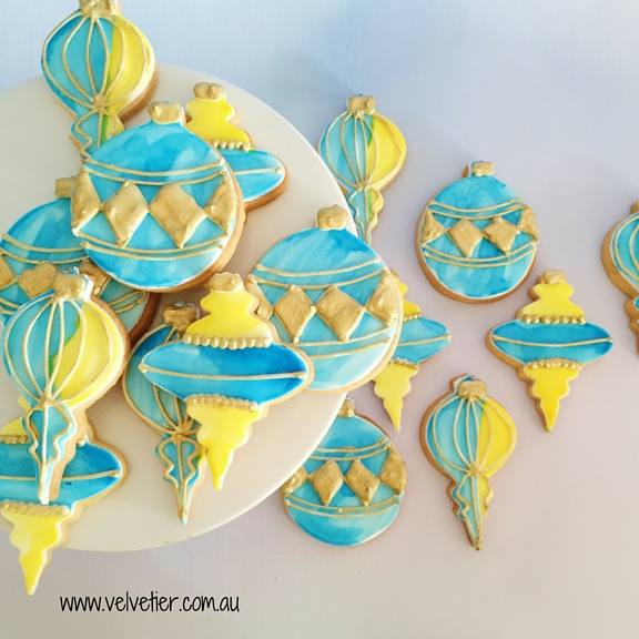 Blue and yellow Christmas ornament cookies Velvetier custom cookies Brisbane