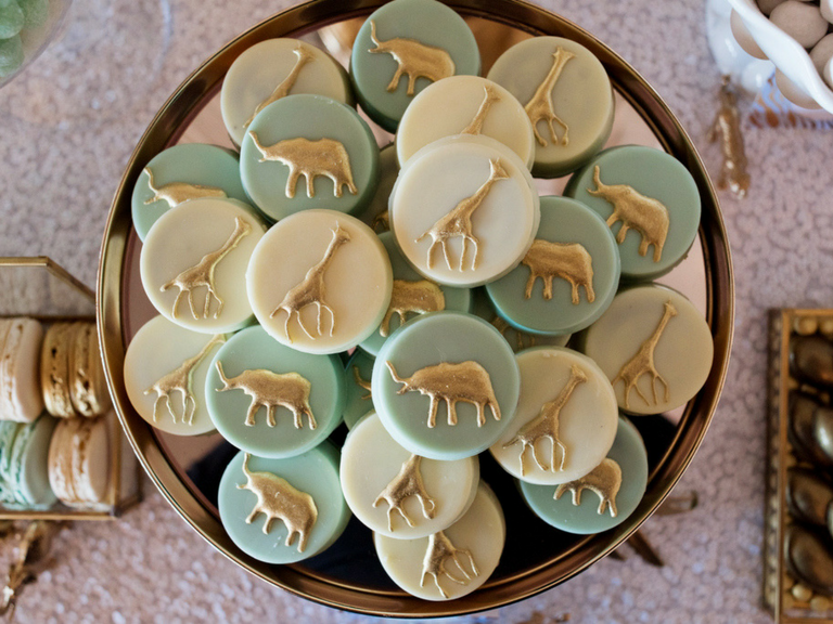 Gold animal silhouette chocolate covered oreos by velvetier brisbane chocolatier