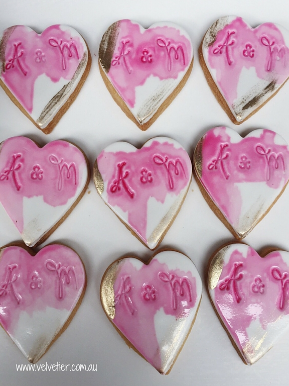Pink and gold watercolour imprint cookies Velvetier custom cookies Brisbane