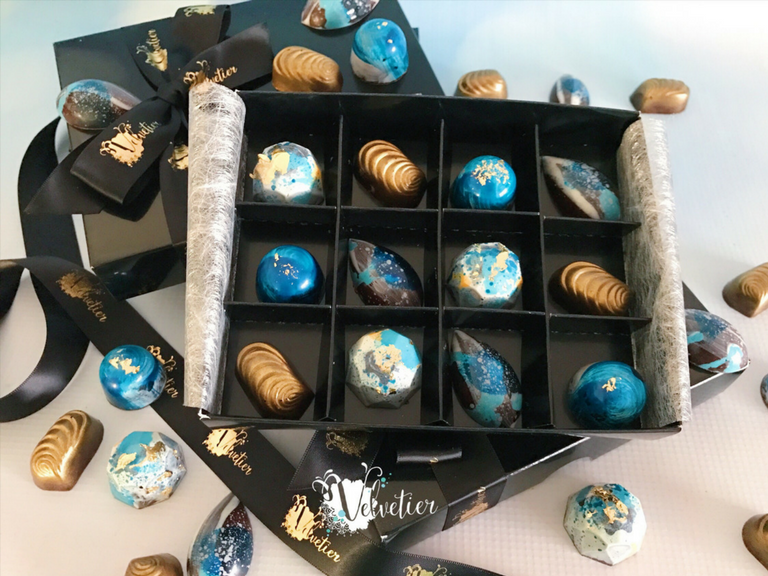 Shades of blue white and gold bonbons boxed as bridesmaid gifts by velvetier brisbane chocolatier