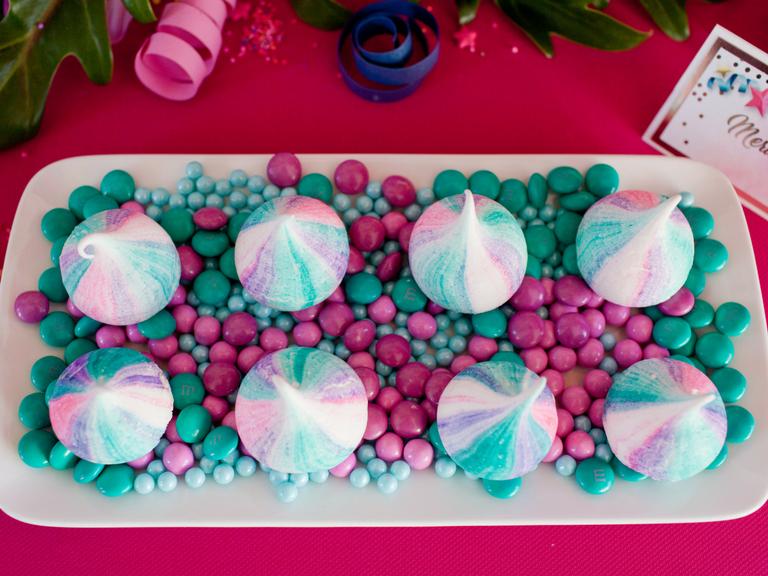 Unicorn Purple pink and teal meringues by Velvetier Brisbane