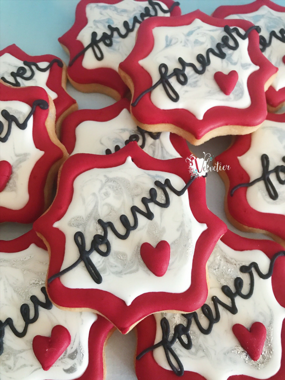 Red and silver forever engagement cookies by velvetier brisbane