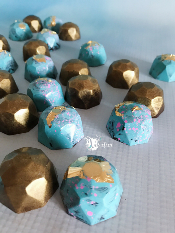 aqua blue pink and gold bonbons gem chocolates by velvetier brisbane chocolatier