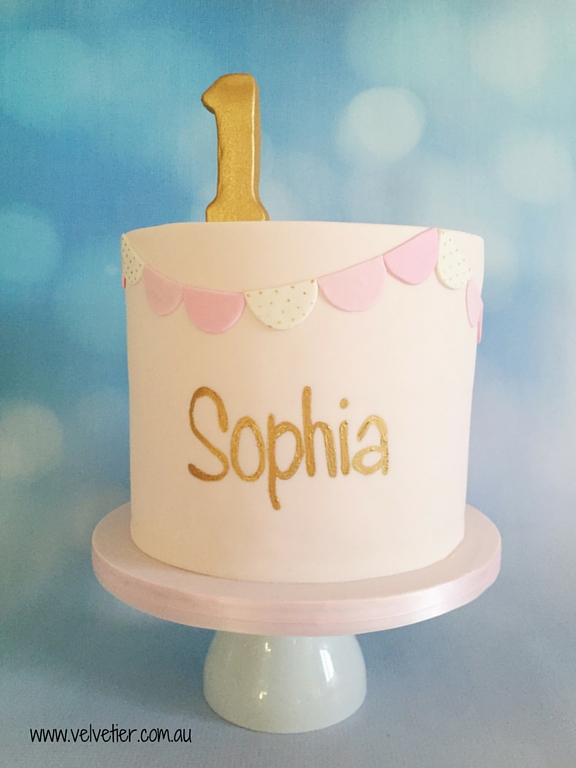 Name and number bunting birthday cake Velvetier Brisbane cake