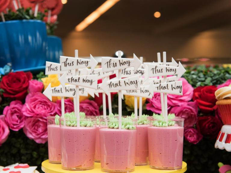 Alice in wonderland themed strawberry mousse by velvetier brisbane desserts dessert cups verrines