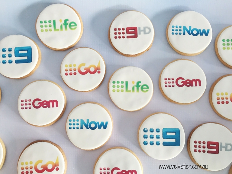 Corporate branded logo cookies Velvetier Brisbane custom cookies