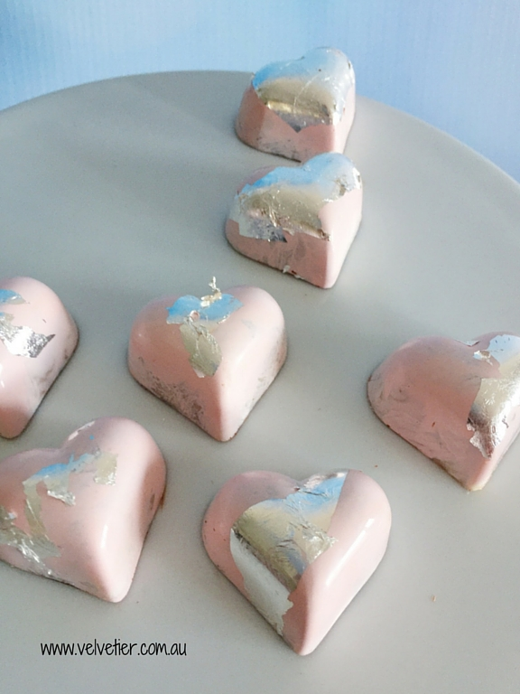 Pink heart chocolates with silver leaf by Velvetier Brisbane chocolatier