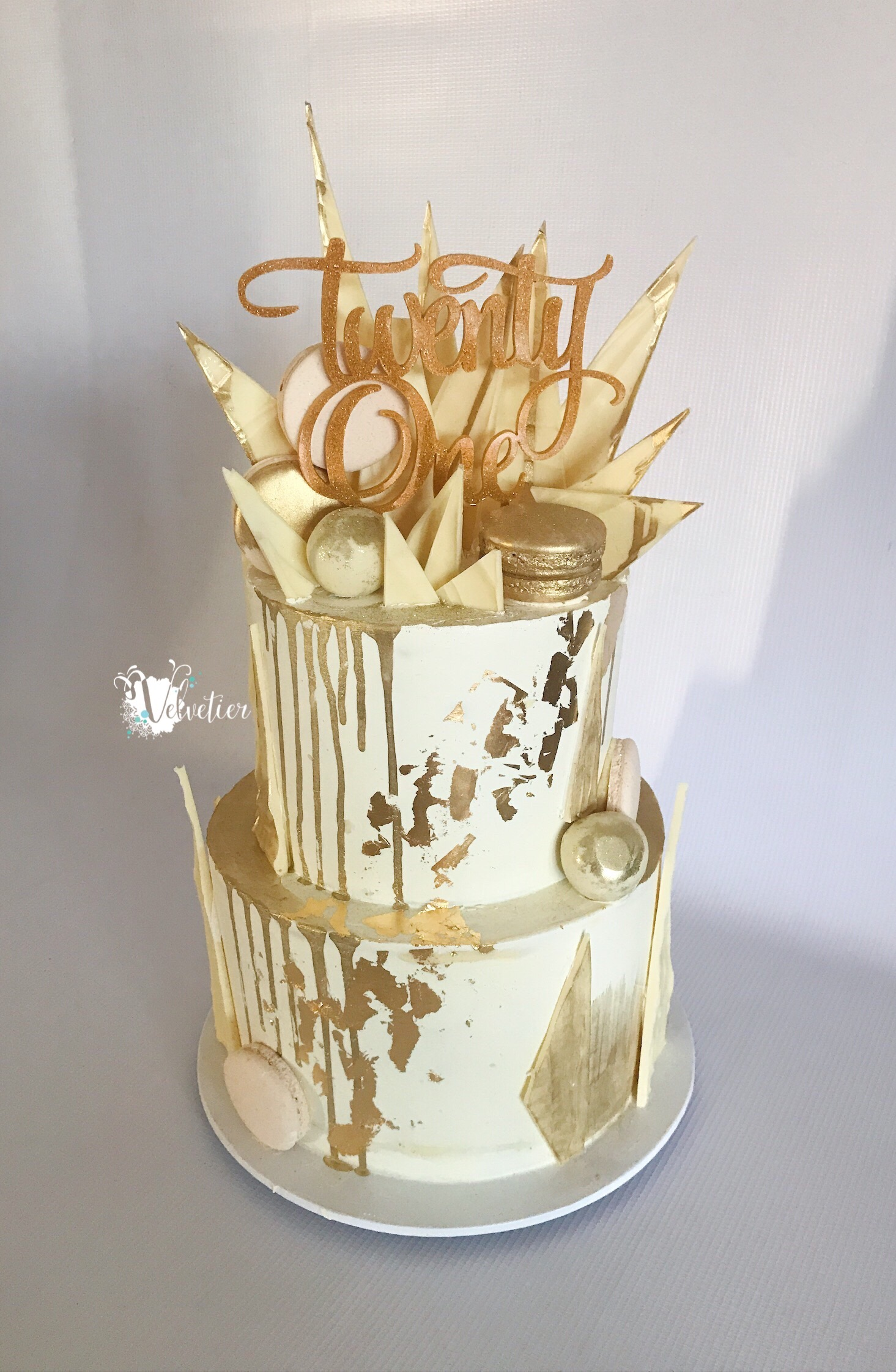 white and gold shard cake with macarons birthday by velvetier brisbane