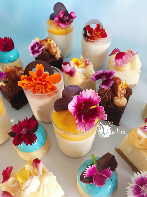 Desserts with edible flowers by Velvetier Brisbane