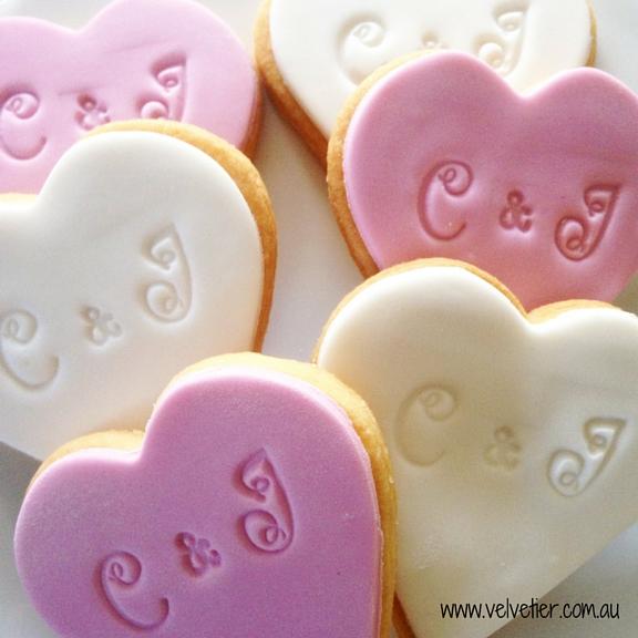 Script stamped inital heart cookies Velvetier custom cookies Brisbane