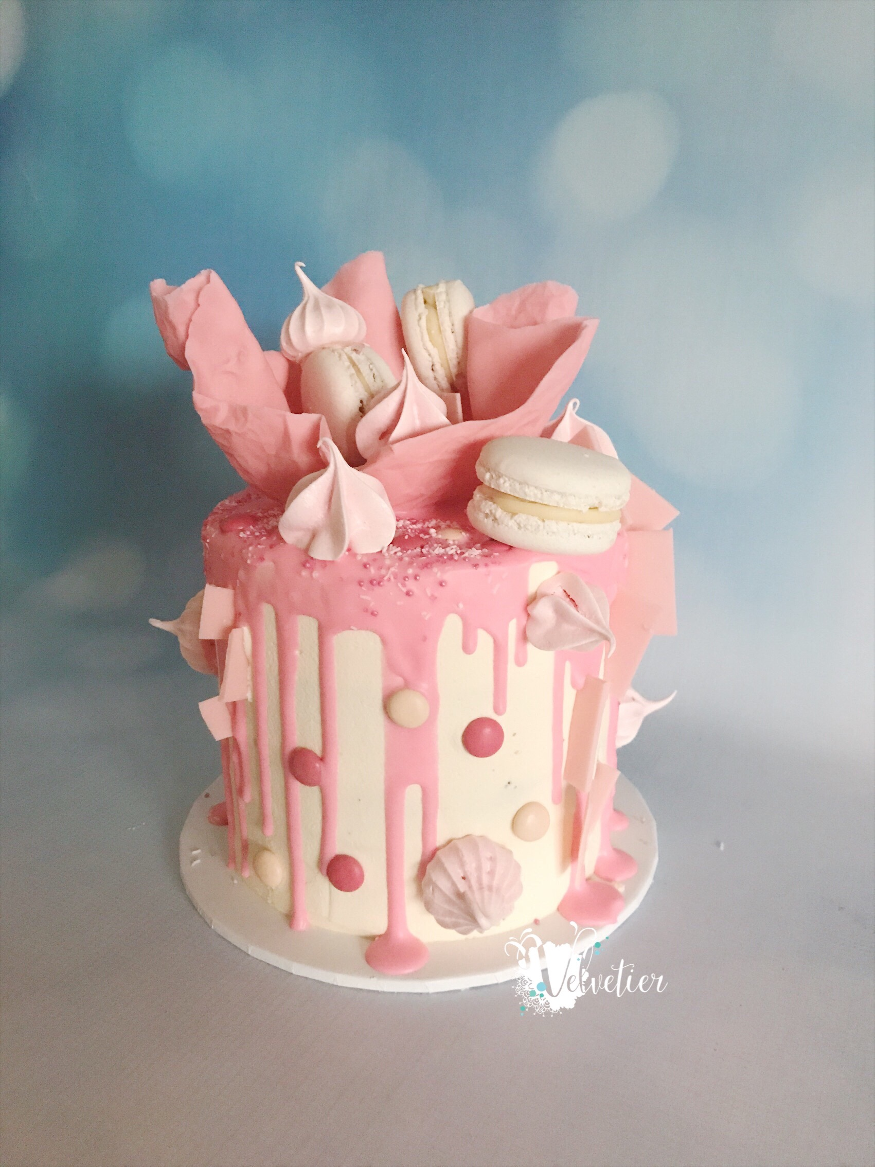 Pink drip and chocolate sail birthday cake by velvetier brisbane