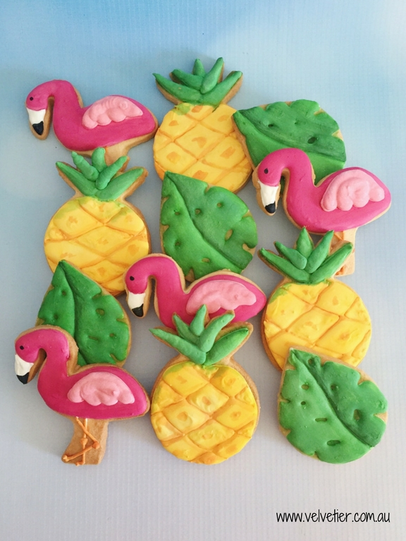 Tropical flamingo leaf and pineapple cookies by Velvetier Brisbane cookie
