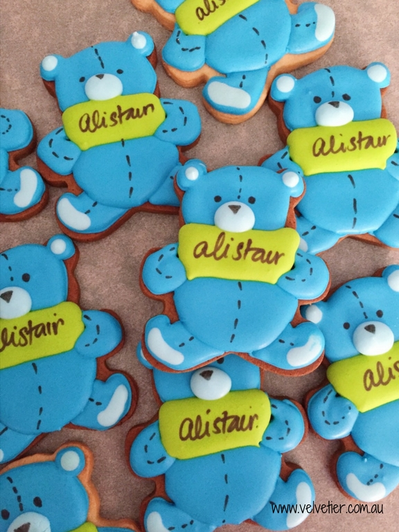 Name banner teddy bear cookies by Velvetier Brisbane Cookie