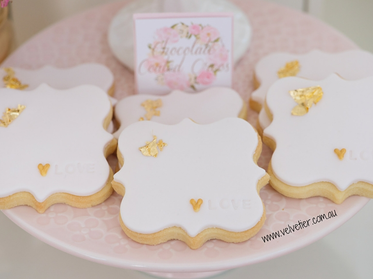 LOVE stamped quatrefoil cookies Velvetier custom cookies Brisbane