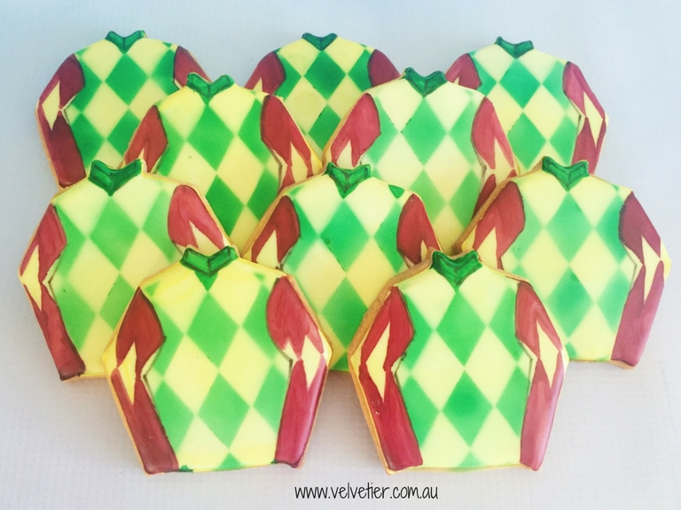 jockey silks cookies by Velvetier Brisbane cookies