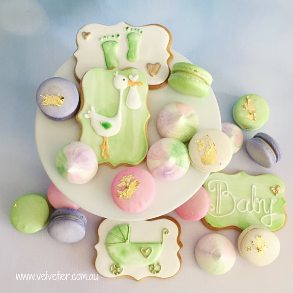 Pink Purple And Green Baby Shower Cookies Macarons And Meringues By Velvetier Brisbane