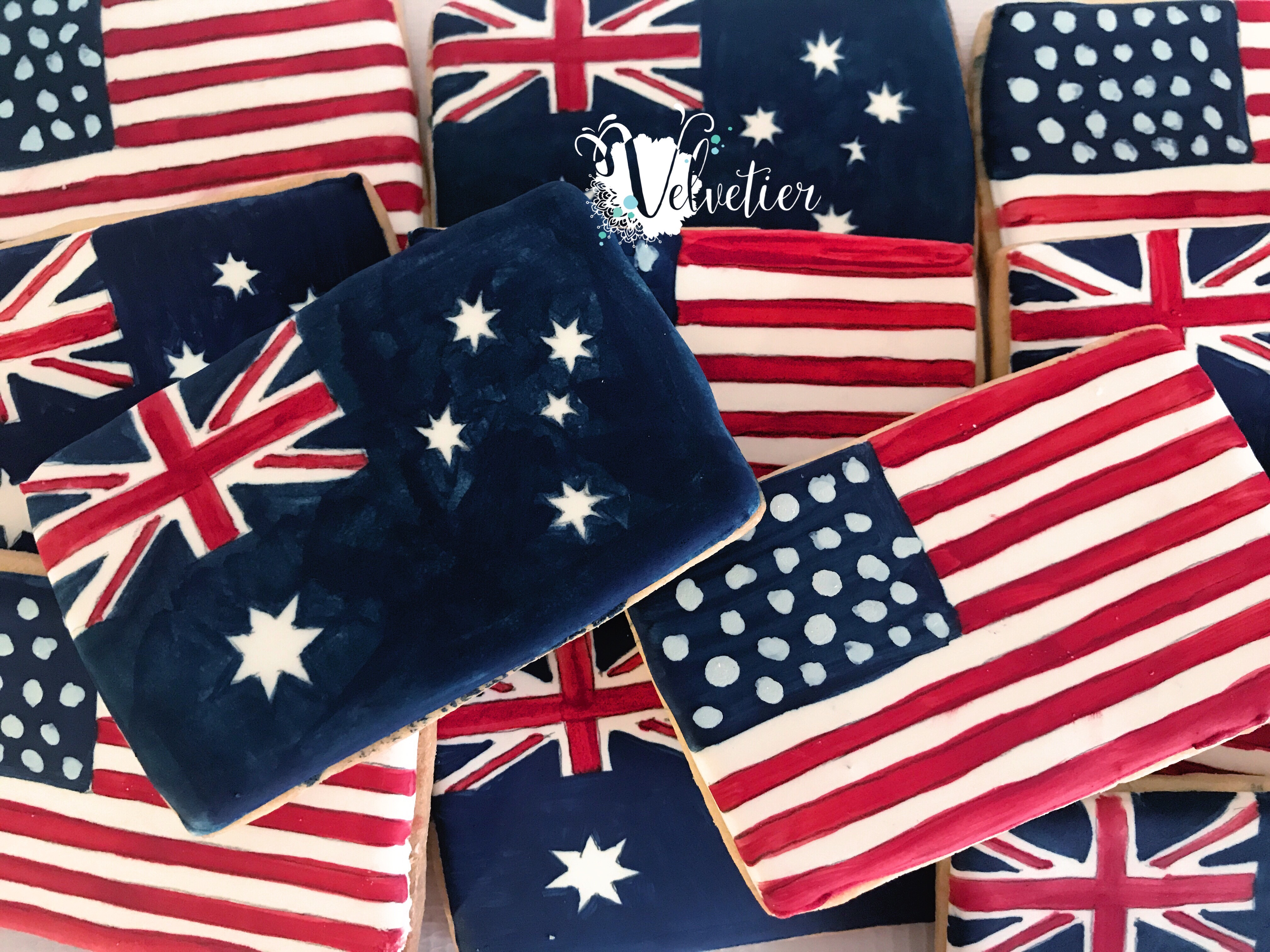 australian and american flag cookies by velvetier brisbane aussie flag usa flag