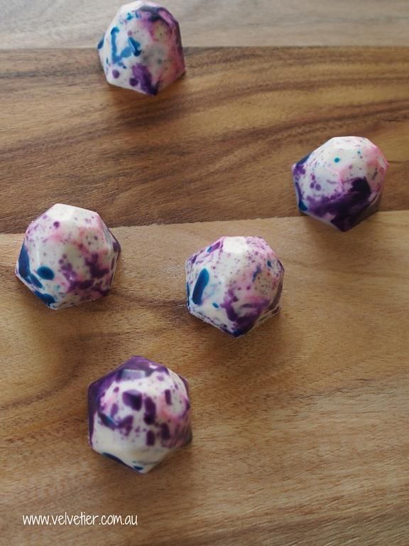 Blue purple and pink gems Velvetier custom chocolates Brisbane