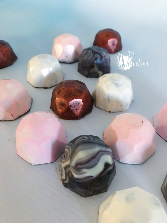 pink peach white copper and marble chocolate bonbons by velvetier brisbane chocolatier wedding