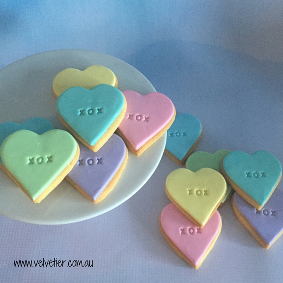 XOX stamped pastel heart cookies Velvetier custom cookies Brisbane
