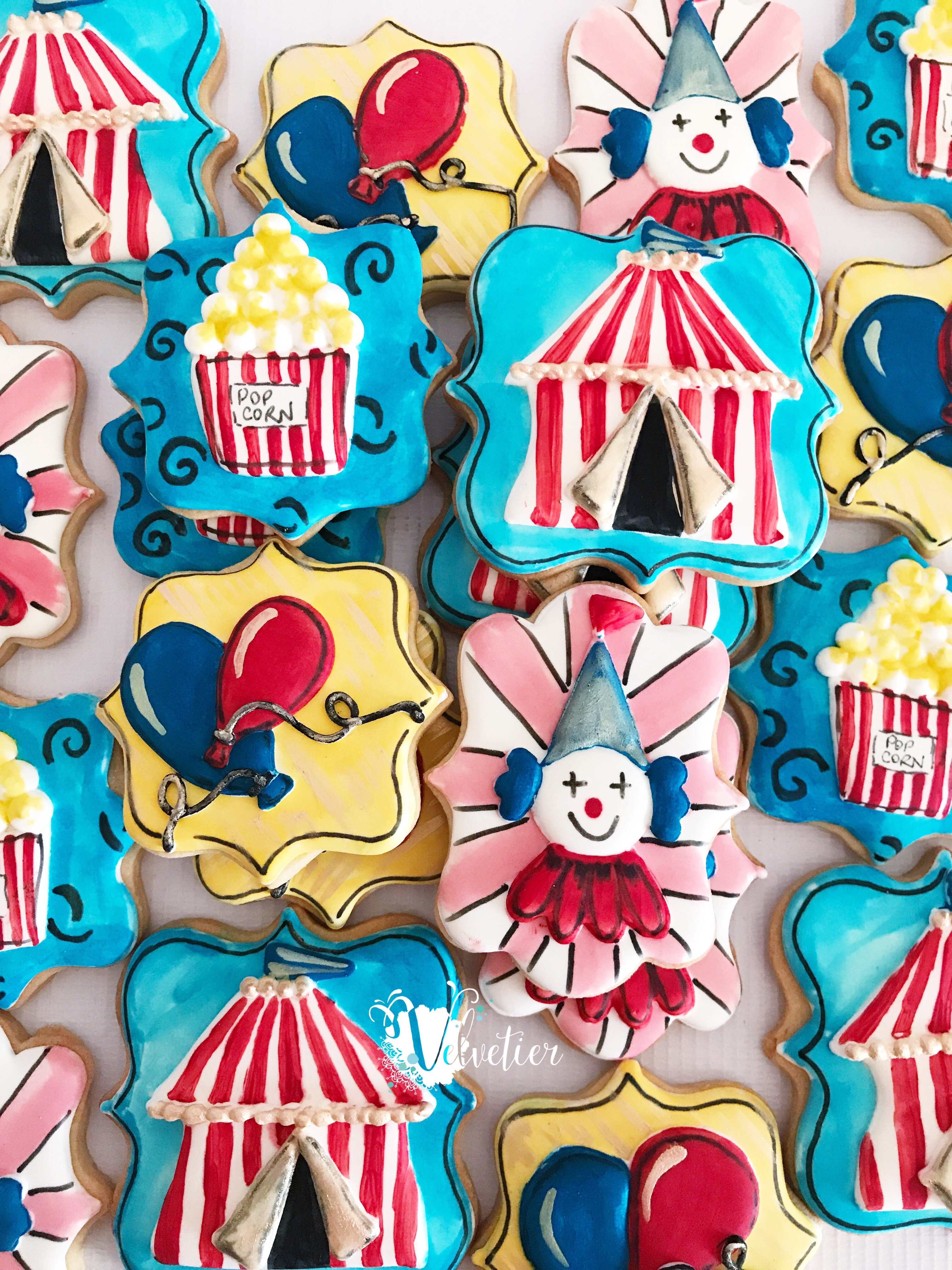 Circus theme cookies by velvetier brisbane