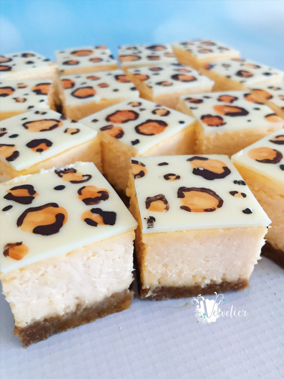 leopard print jungle theme cheesecake slice by velvetier brisbane