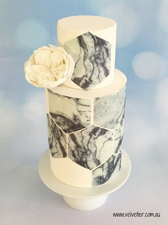 Marble hexagon cake with sugar david austin rose Velvetier Brisbane
