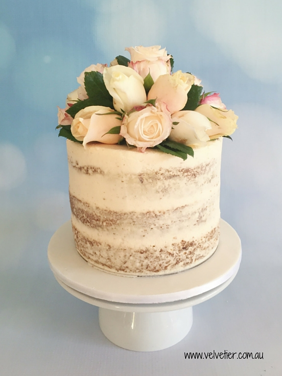 Semi naked carrot cake with fresh roses Velvetier Brisbane