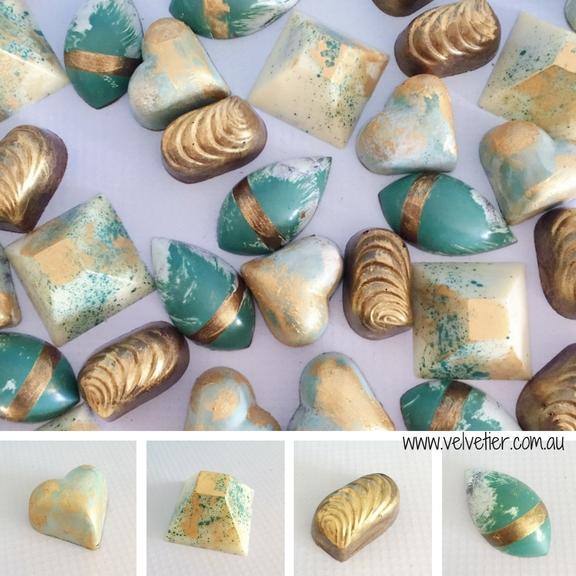 Eucalyptus and gold chocolate range by Velvetier Brisbane Chocolatier