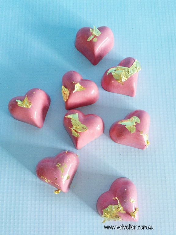 Pink Heart Chocolates With Gold Leaf By Velvetier Brisbane Chocolates