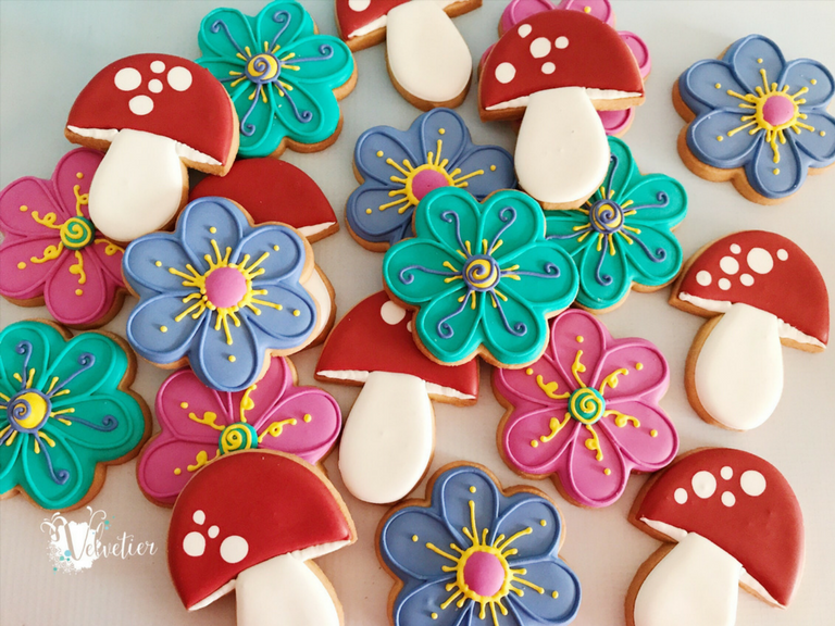 whimsical flowers and mushroom cookies by velvetier brisbane