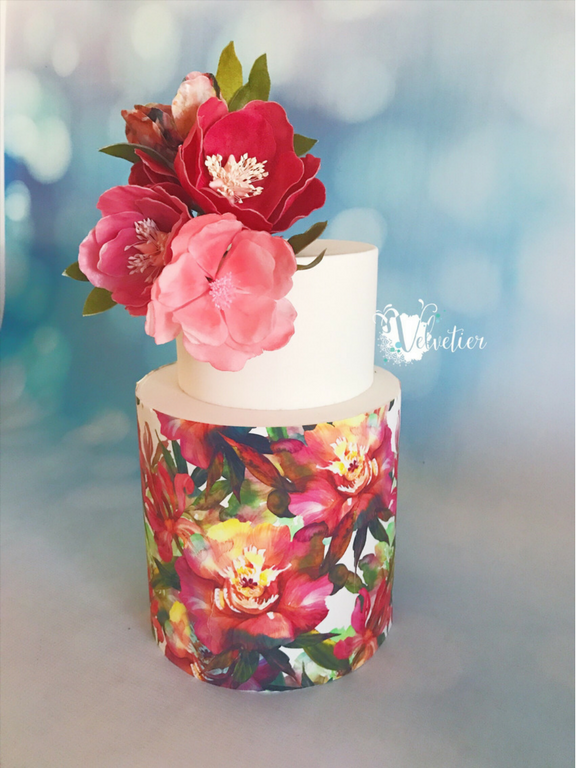 Edible printed wrap with flowers cake by Velvetier Brisbane