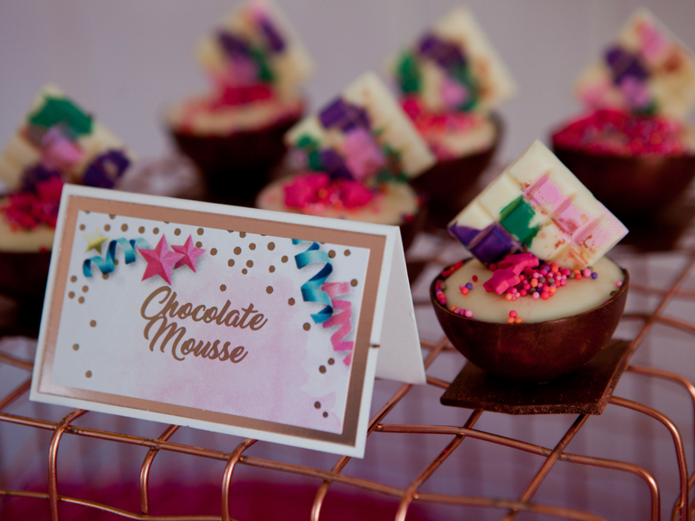 unicorn white chocolate mousse in chocolate cups by velvetier brisbane confectionary