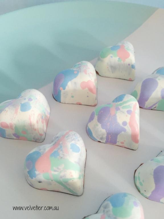 Pastel Splat Heart Chocolates By Velvetier Brisbane Chocolates