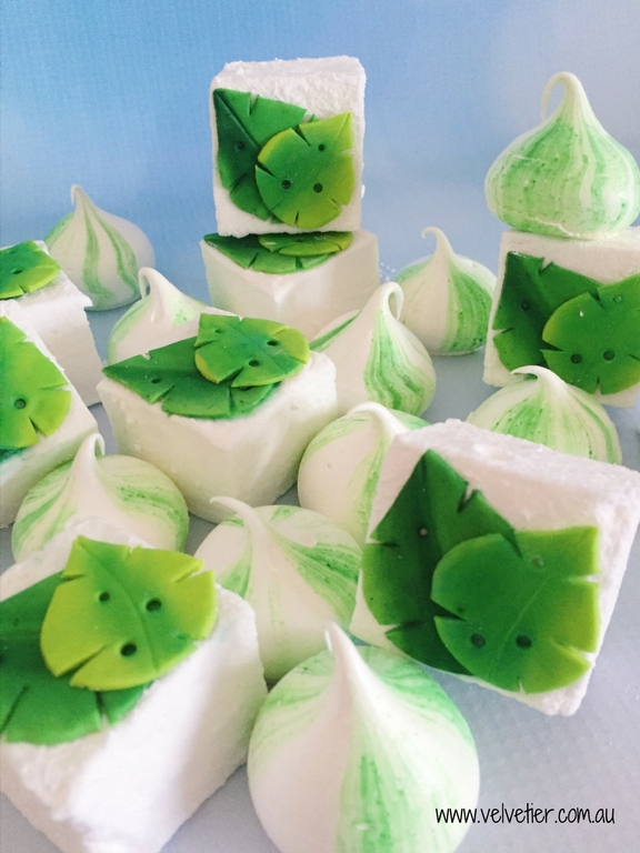 tropical green leaf marshmallow and meringues by Velvetier Brisbane sweets