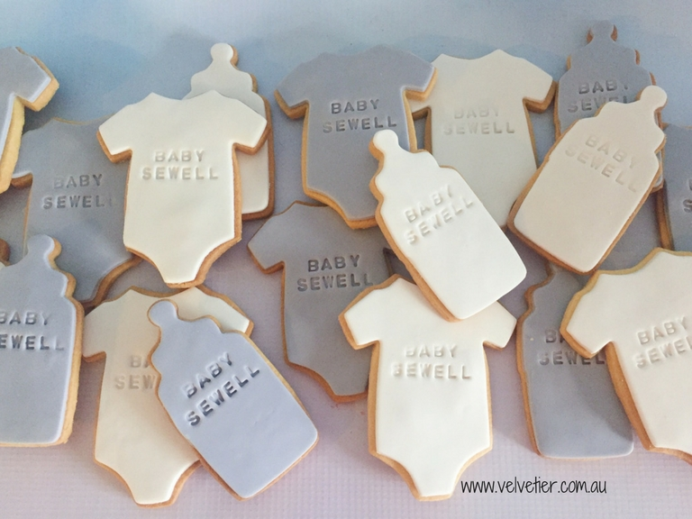 White and grey stamped baby shower cookies by Velvetier Brisbane Cookie 2