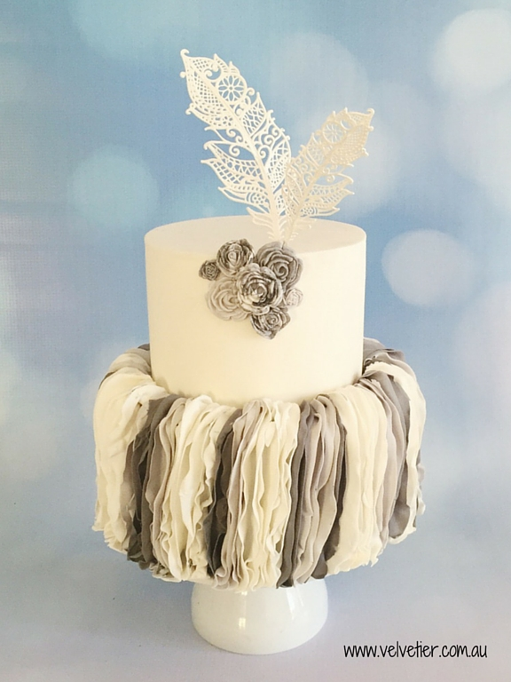 Vertical ruffle marble cake with feathers Velvetier Brisbane
