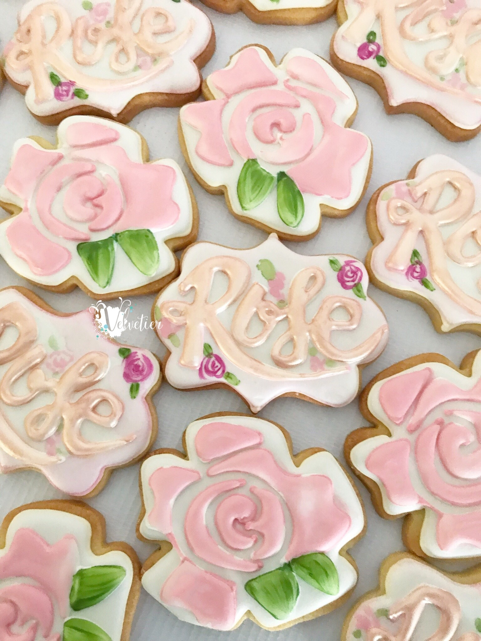 shades of pink rose first birthday cookies by velvetier brisbane 2