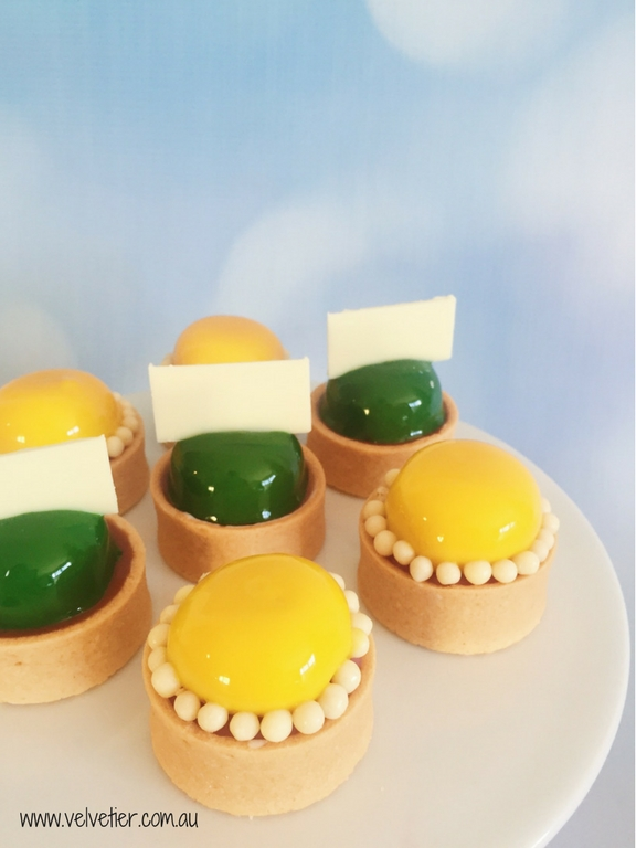 Green And Yellow Double Decker Tarts by Velvetier Brisbane Desserts