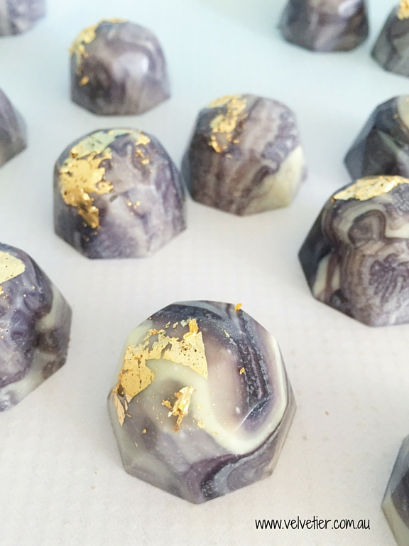 Marble and gold leaf gem chocolates Velvetier custom chocolates Brisbane