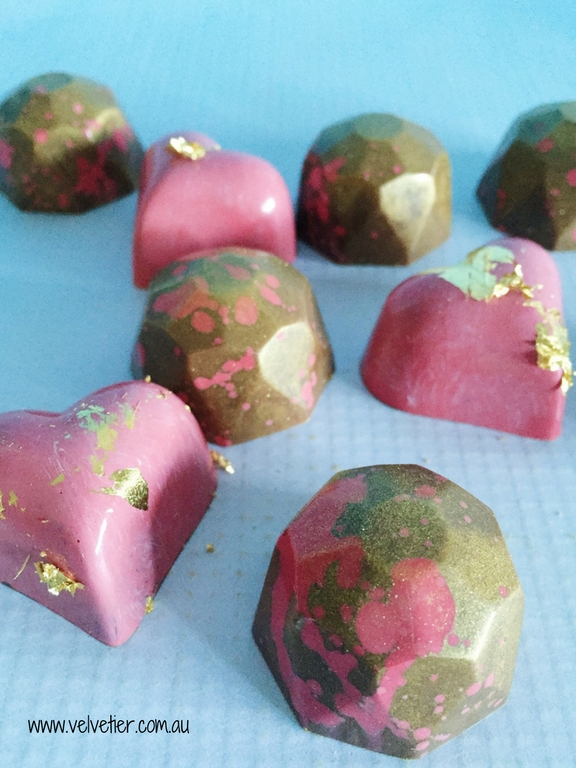 Pink And Gold Heart And Gem Chocolates By Velvetier Brisbane Custom Chocolates