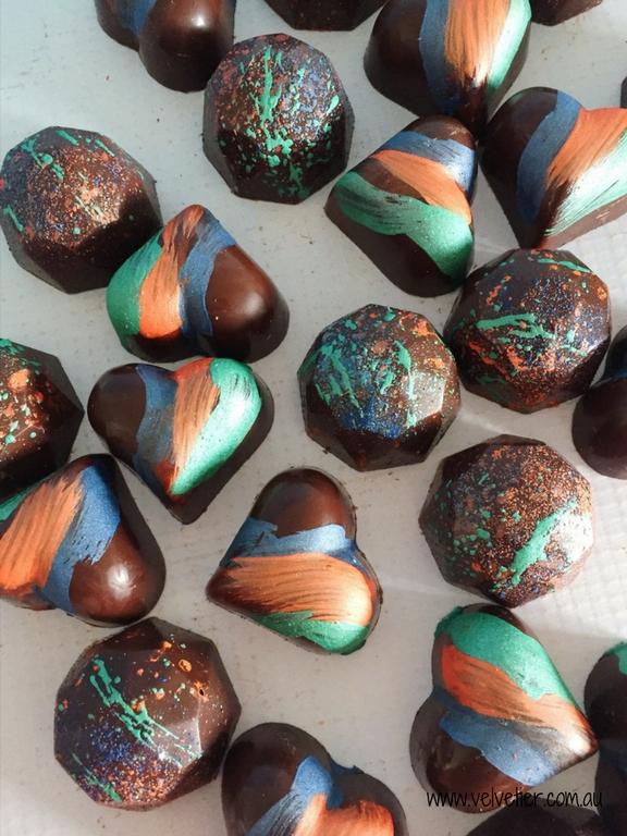 Bird of paradise blue green and orange heart and gem chocolates by Velvetier Brisbane Chocolatier 2