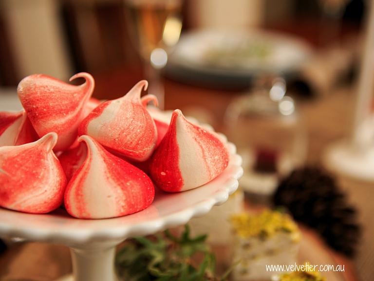 Red Christmas meringues Velvetier sweets Brisbane