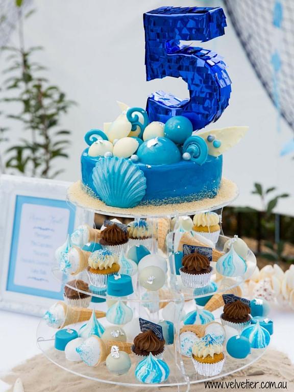 Under the sea dessert tower topper with mirror glaze cake by Velvetier Brisbane cake designer